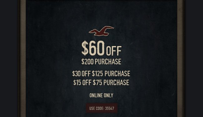 $60 OFF $200 PURCHASE