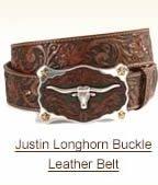 Justin Longhorn Buckle Leather Belt