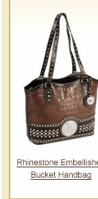 Rhinestone Embellished Bucket Handbag