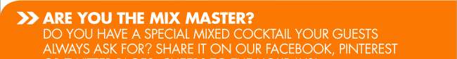 ARE YOU THE MIX MASTER? DO YOU HAVE A SPECIAL MIXED COCKTAIL YOUR GUESTS ALWAYS ASK FOR? SHARE IT ON OUR FACEBOOK, PINTEREST OR TWITTER PAGES. CHEERS TO THE HOLIDAYS!