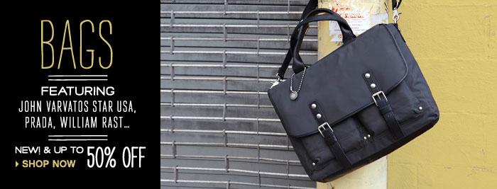 Bags from John Varvatos Star USA, Prada, William Rast, Salvatore Ferragamo…