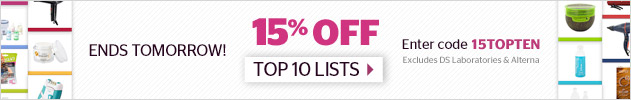 15% off Top Ten Lists