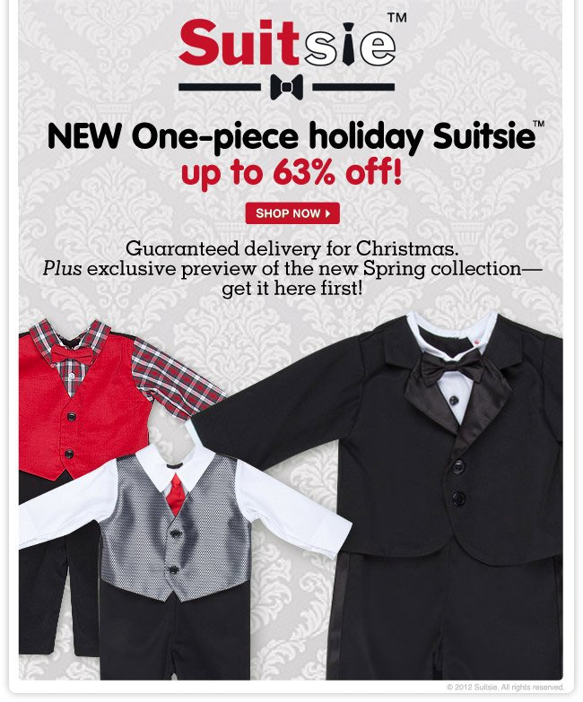 NEW One-piece holiday Suitsie up to 63% off! Guaranteed delivery for Christmas. Plus exclusive preview of the new Spring collection - get it here first!