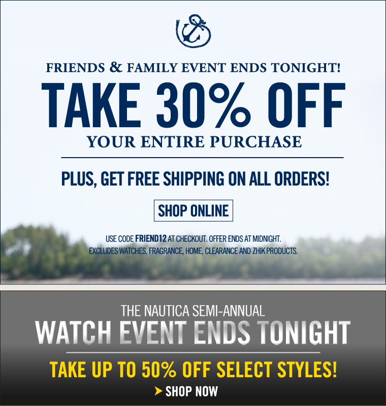 LAST DAY! FRIENDS AND FAMILY EVENT! Take 30% off your entire purchase.