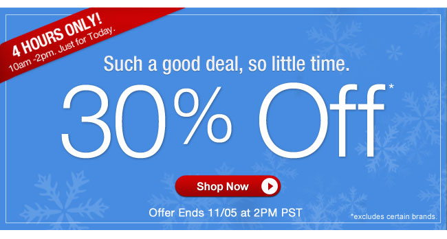 4 HOURS ONLY! | 10am - 2pm. Just for today. | Such a good deal, so little time. | 30% OFF* | Offer ends 11/5 at 2pm PT | Shop Now