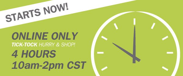 STARTS NOW! ONLINE ONLY. TICK-TOCK HURRY & SHOP! 4 HOURS. 10am-2pm CST.