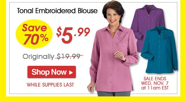 Tonal Embroidered Blouse - Save 70% - Now Only $5.99 Limited Time Offer