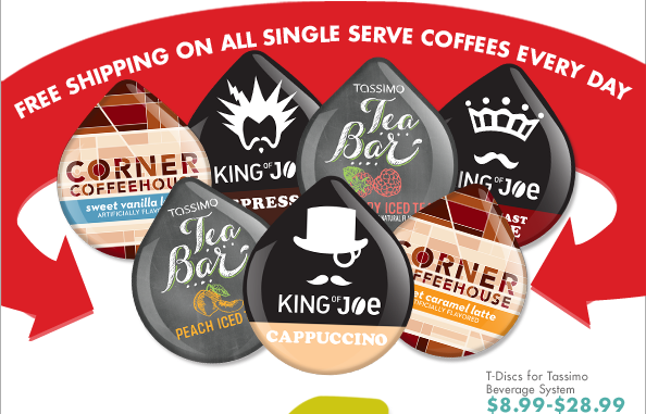 FREE SHIPPING ON ALL SINGLE SERVE COFFEES EVERY DAY T-Disc for Tassimo Beverage System $8.99-$28.99