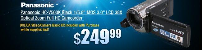 "Panasonic HC-V500K Black 1/5.8"" MOS 3.0"" LCD 38X Optical Zoom Full HD Camcorder"