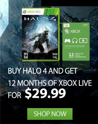 Buy Halo 4 get 12 Months of XBOX Live for 29.99