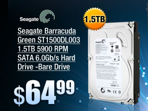 Seagate Barracuda Green ST1500DL003 1.5TB 5900 RPM SATA 6.0Gb/s Hard Drive -Bare Drive