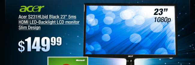 "Acer S231HLbid Black 23"" 5ms HDMI LED-Backlight LCD monitor Slim Design"