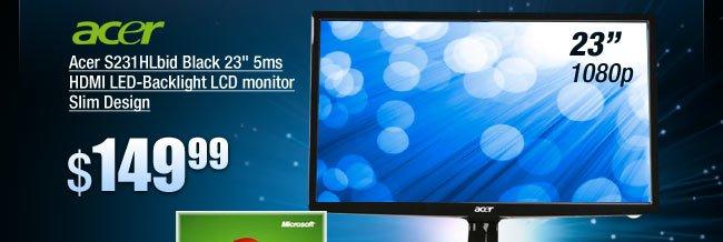 "Acer S231HLbid Black 23"" 5ms HDMI LED-Backlight LCD monitor Slim Design"