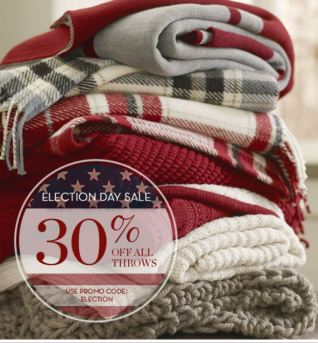 ELECTION DAY SALE - 30% OFF ALL THROWS - USE PROMO CODE: ELECTION