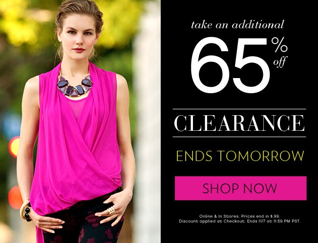 Take An Additional 65% OFF Clerance Ends Today!