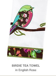 Birdie Tea Towel in English Rose