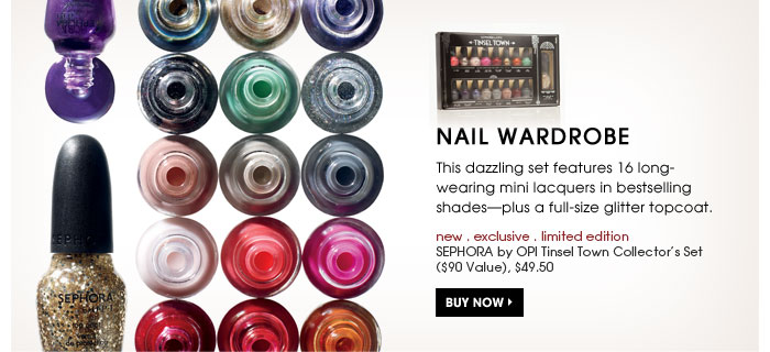 Nail Wardrobe. This dazzling set features 16 long-wearing mini lacquers in bestselling shades-plus a full-size glitter topcoat. new . exclusive . limited edition. SEPHORA by OPI Tinsel Town Collector's Set ($90 Value), $49.50