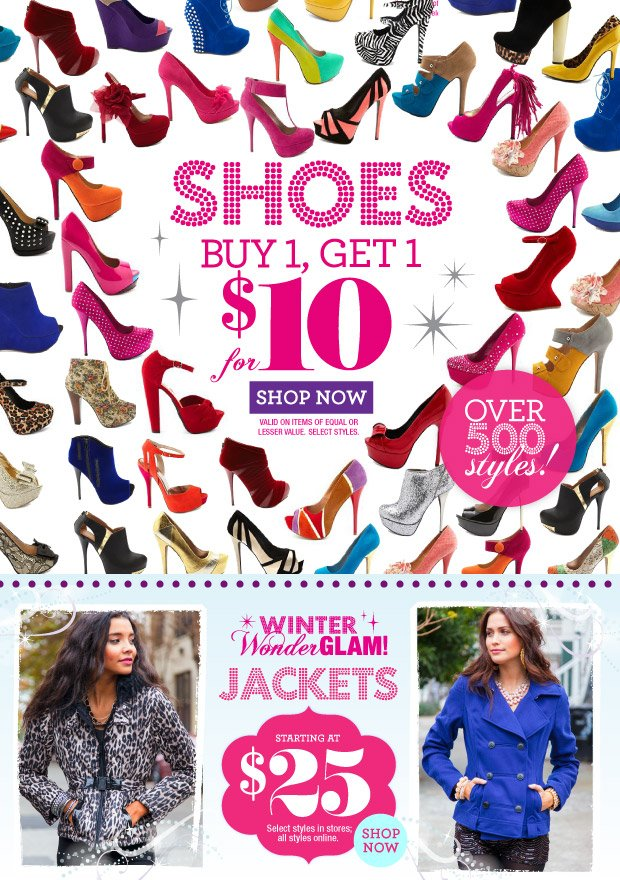 Shoes Buy 1, Get 1 for $10.