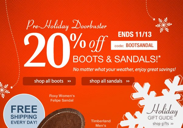 20% off Pre-holiday doorbuster sale!
