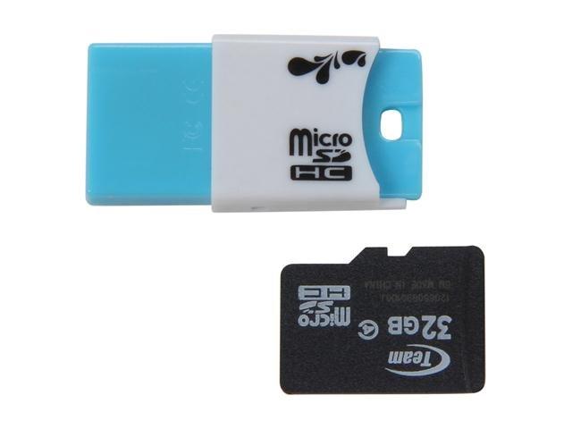 Team 32GB Micro SDHC Flash Card w/ USB2.0 Micro SD Card Reader TR11A1 Model TG032G0MC24C