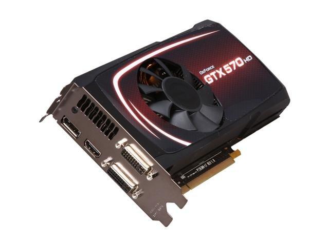 EVGA SuperClocked 012-P3-1573-AR GeForce GTX 570 HD w/Display-Port (Fermi) 1280MB 320-bit GDDR5 PCI Express 2.0 x16 HDCP Ready SLI Support Video Card