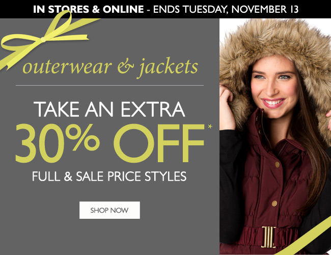 Outerwear & Jackets: Take an Extra 30% Off