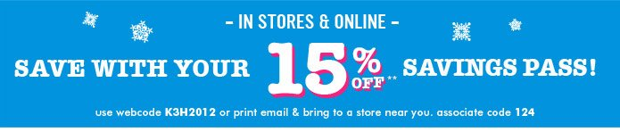 15% Off Savings Pass!