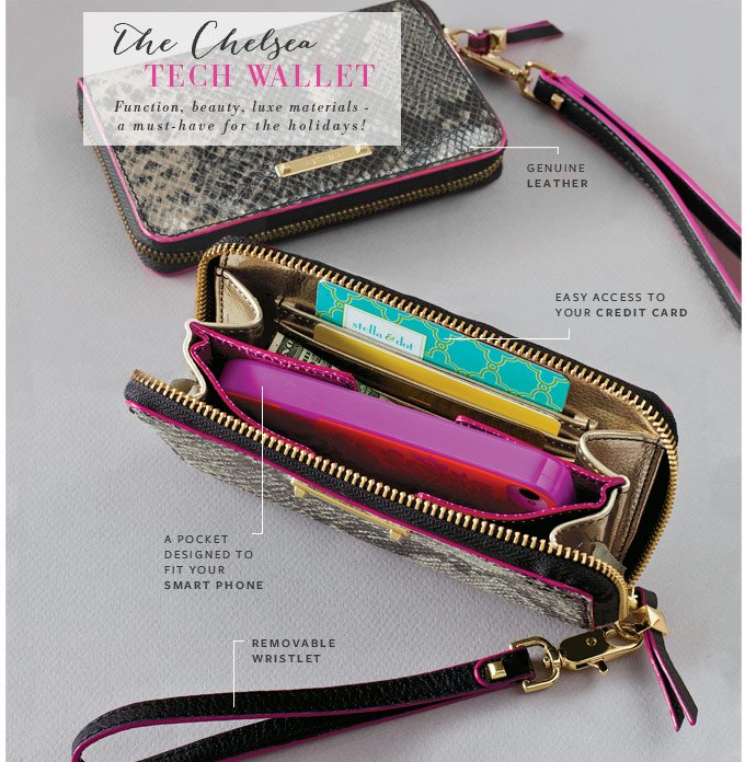 The Chelsea Tech Wallet - Function, beauty, luxe materials, a must-have for the holidays! Genuine leather, easy access to your credit card, a pocket designed to fit your smart phone, removable wristlet