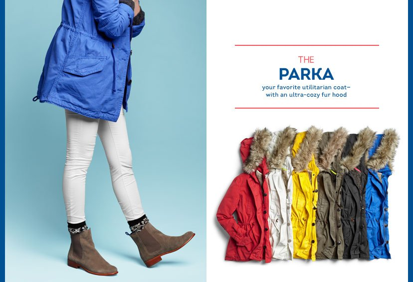 THE PARKA - your favorite utilitarian coat— with an ultra-cozy fur hood