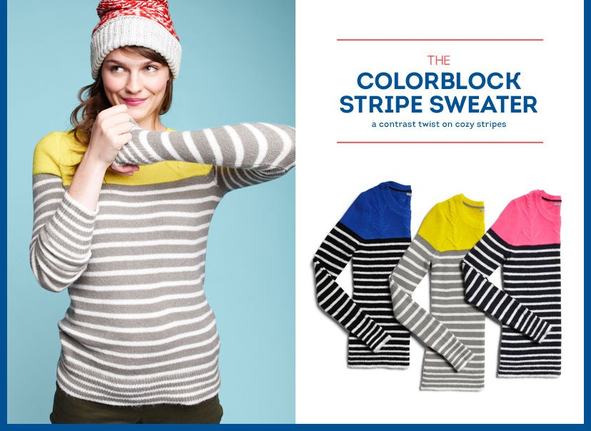 THE COLORBLOCK STRIPE SWEATER - A CONTRAST TWIST ON COZY STRIPES