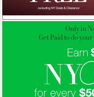 Now through Monday, November 26, 2012: Earn $10 in NYCash for every $50 you spend!