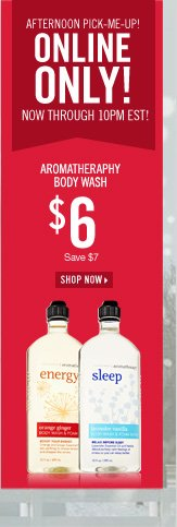 Online Only! $6 Aromatherapy Body Wash