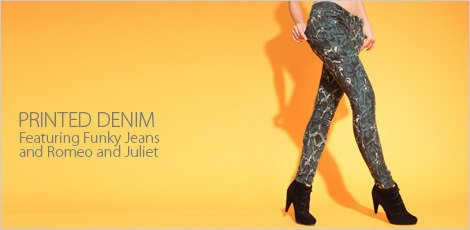Printed Denim featuring Funky Jeans & Romeo and Juliet