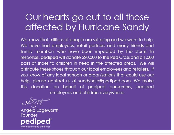 pediped Supports Hurricane Sandy Victims