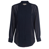 Paul Smith Shirts - Black Pleated Front Wool Shirt