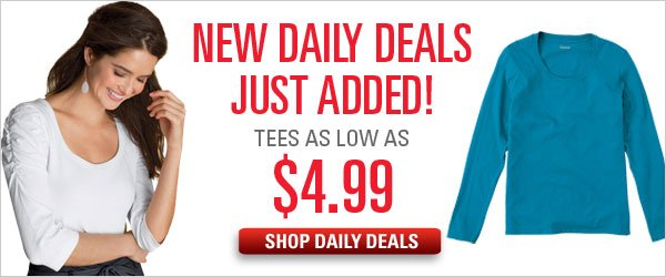 $4.99 & up Daily Deal tees