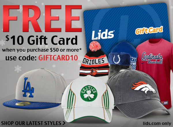 Free $10 gift card when you purchase $50 or more.