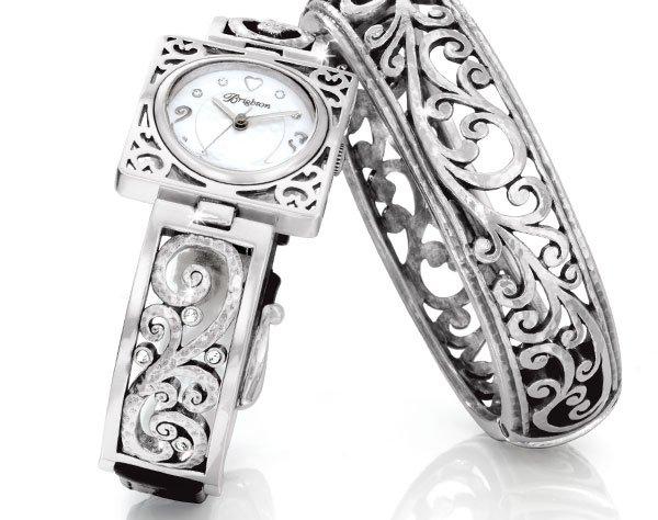 Irvine timepiece and Mantilla Bangle