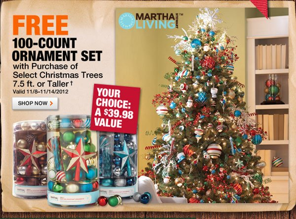FREE 100-count ornament set with purchase of select Christmas trees