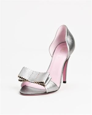 Red Valentino Genuine Leather Metallic Bow Heels - Made In Italy $165