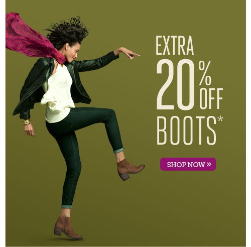 Extra 20% off all boots