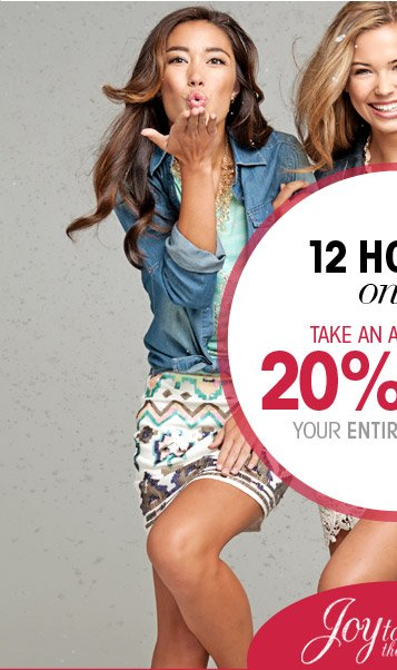 12 Hours Only - 20% Off Purchase