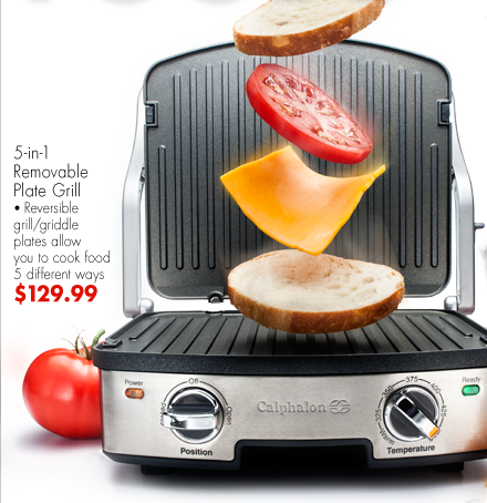 5-in-1 Removable Plate Grill Reversible grill/griddle plates allow you to cook food 5 different ways $129.99