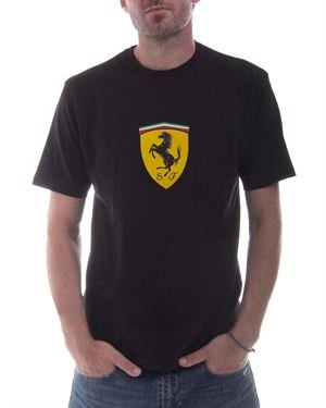 Ferrari Men's Scudetto Solid Color T-Shirt With Brand Name & Logo $49