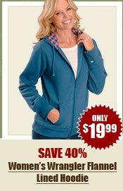 Women's Wrangler Flannel Lined Hoodie