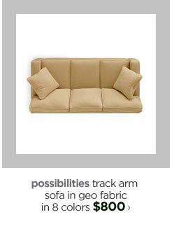 possibilities track arm sofa in geo fabric in 8 colors  $800›