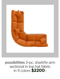 possibilities 3-pc. sharkfin arm sectional in top hat fabric in 11  colors $2200›