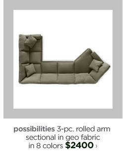possibilities 3-pc. rolled arm sectional in geo fabric in 8 colors  $2400›