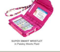 Super Smart Wristlet in Paisley Meets Plaid