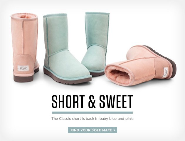 Short and Sweet - The classic short is back in baby blue and pink. Find your sole mate